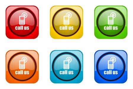 call us: call us colorful web icons Stock Photo