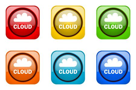 web icons: cloud colorful web icons