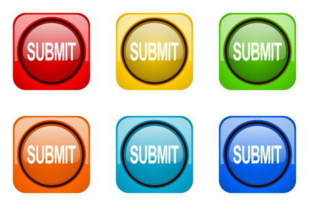 submit: submit colorful web icons Stock Photo