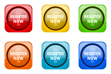 color registration: register now colorful web icons