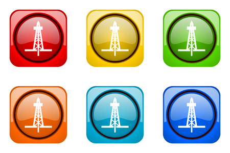 drilling colorful web icons Stock Photo