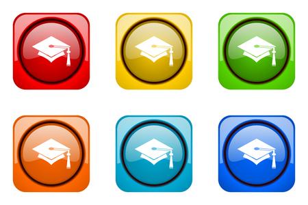 i i  i i toga: educación coloridos iconos de la web