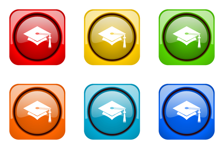 doctorate: education colorful web icons Stock Photo