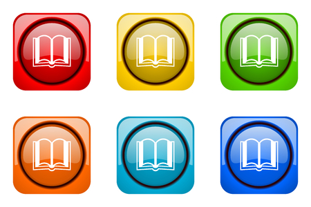 guestbook: book colorful web icons