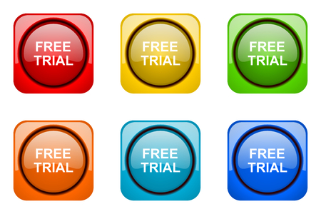 free trial: free trial colorful web icons Stock Photo