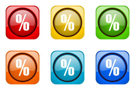 percent sign: percent colorful web icons Stock Photo