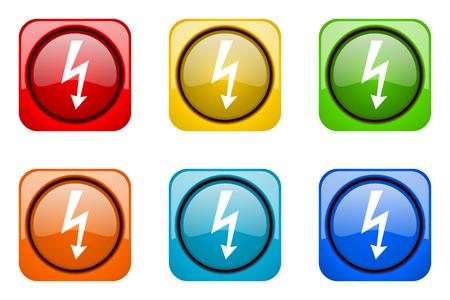 high voltage symbol: bolt colorful web icons