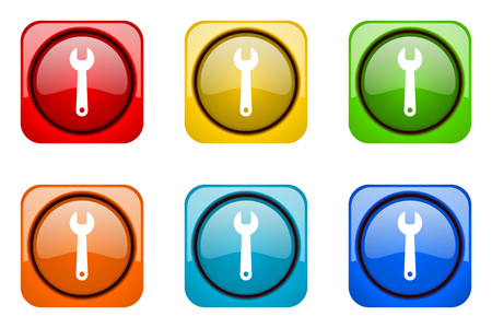 engineering design: tool colorful web icons
