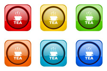 web icons: tea colorful web icons