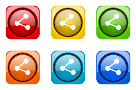 share colorful web icons Stock Photo