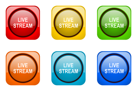 live stream: live stream colorful web icons