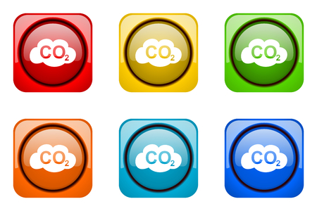 dioxide: carbon dioxide colorful web icons Stock Photo