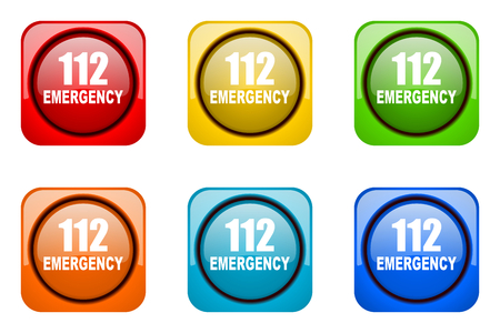 tel: number emergency 112 colorful web icons