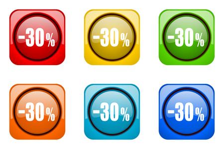 30: 30 percent sale retail colorful web icons
