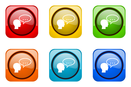 forum colorful web icons Stock Photo