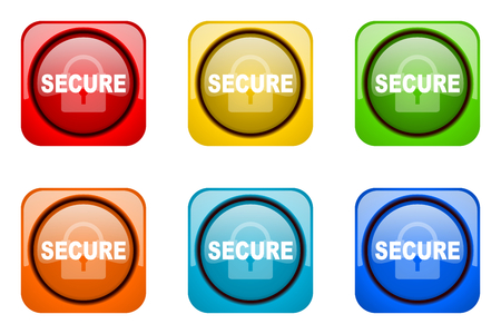 secure: secure colorful web icons Stock Photo