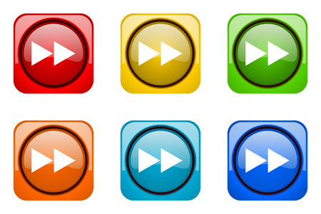 eject icon: rewind colorful web icons Stock Photo