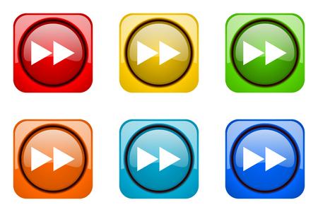 rewind: rewind colorful web icons Stock Photo