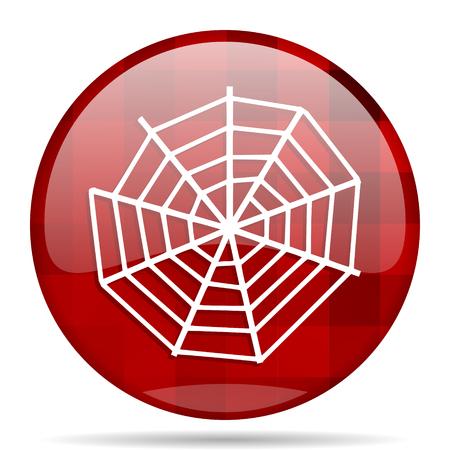 spinnenweb ronde rood web pictogram glanzend modern design