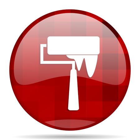 brush red round glossy modern design web icon Stock Photo
