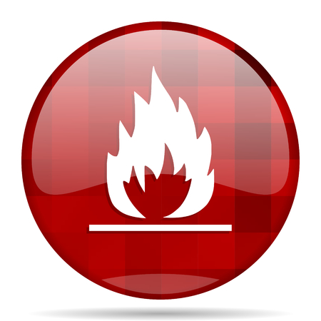 flame red round glossy modern design web icon Stock Photo
