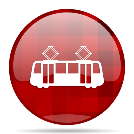 tram red round glossy modern design web icon
