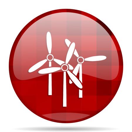 windmill red round glossy modern design web icon