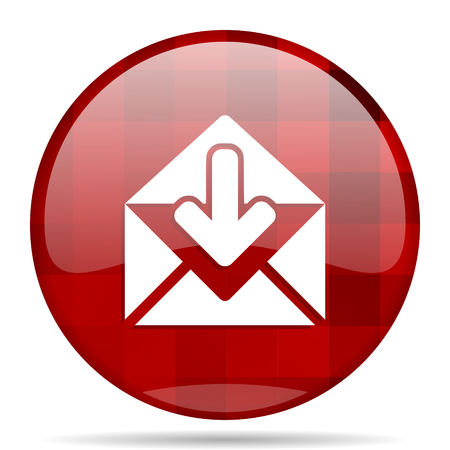 email red round glossy modern design web icon