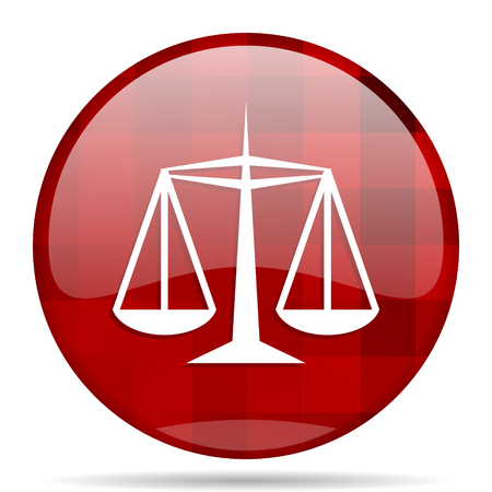 justice red round glossy modern design web icon