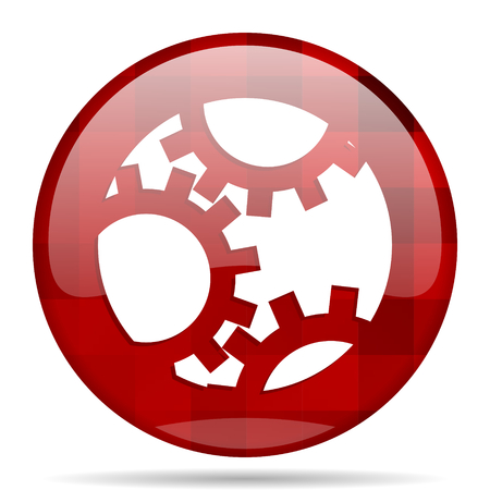 gear red round glossy modern design web icon Stock Photo