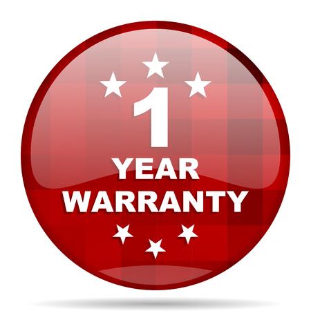 warranty guarantee 1 year red round glossy modern design web icon