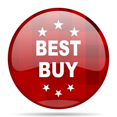 best buy: best buy red round glossy modern design web icon Stock Photo