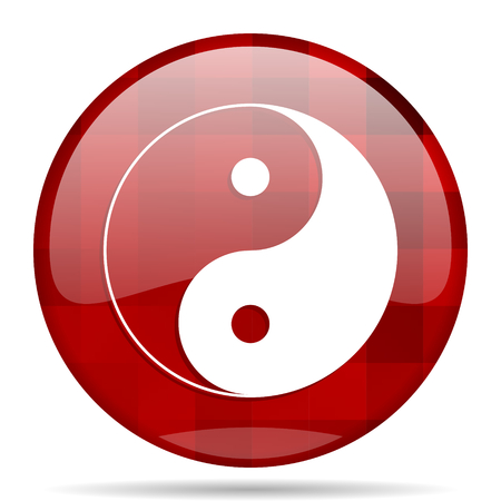 ying and yang: ying yang red round glossy modern design web icon