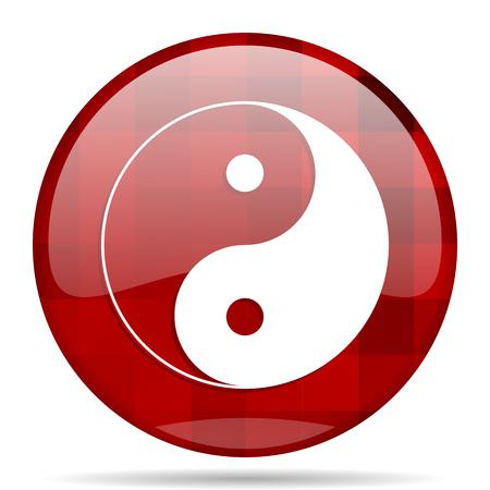 ying yang red round glossy modern design web icon