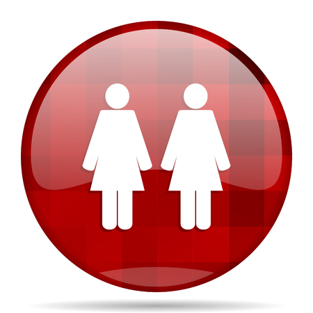 homosexual wedding: Lesbian couple red round glossy modern design web icon