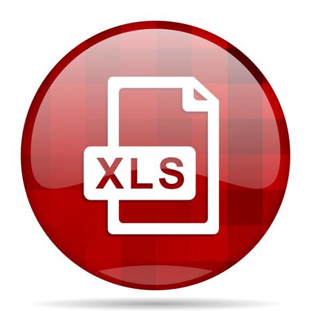 xls: xls file red round glossy modern design web icon