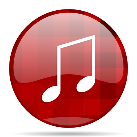 mp3 player: music red round glossy modern design web icon Stock Photo