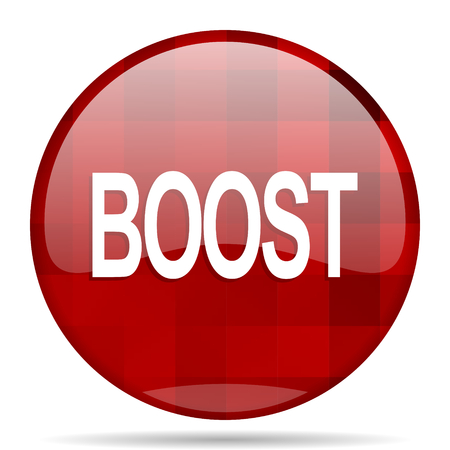 boost: boost red round glossy modern design web icon Stock Photo