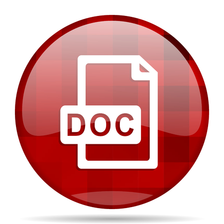doc: doc file red round glossy modern design web icon