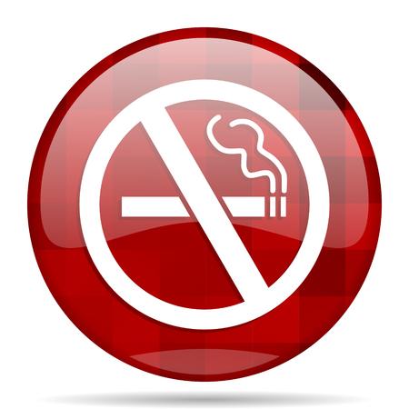 no smoking red round glossy modern design web icon Stock Photo