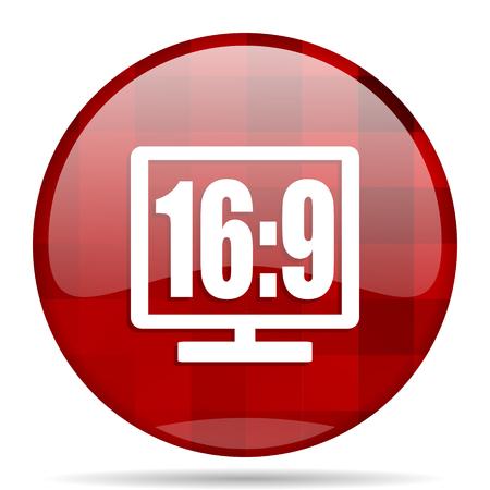 16 9 display: 16:9 display red round glossy modern design web icon
