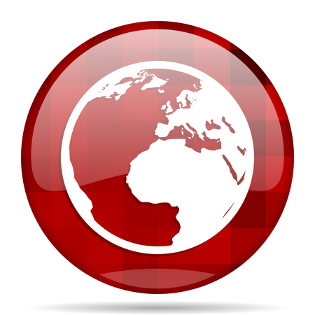 meridian: earth red round glossy modern design web icon Stock Photo