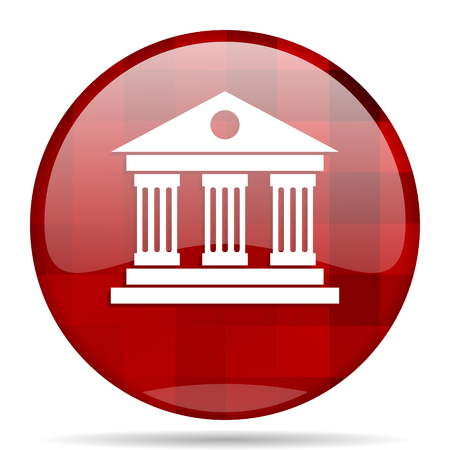 acropolis: museum red round glossy modern design web icon