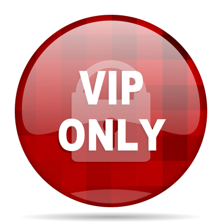 privilege: vip only red round glossy modern design web icon Stock Photo