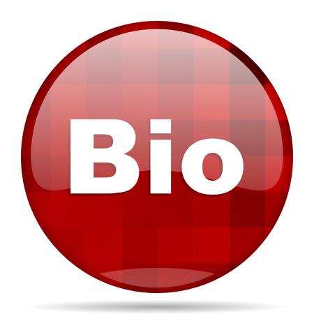 bio red round glossy modern design web icon