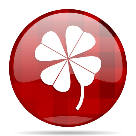 red clover: four-leaf clover red round glossy modern design web icon