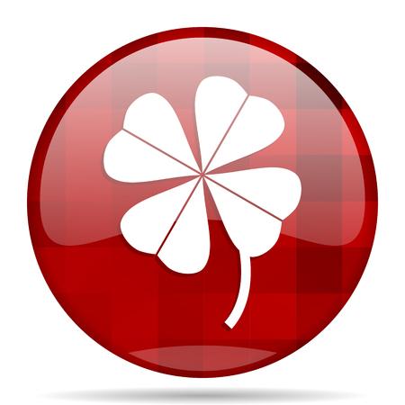 fourleaf: four-leaf clover red round glossy modern design web icon