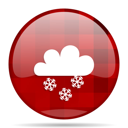 snowing: snowing red round glossy modern design web icon Stock Photo