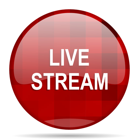 live stream: live stream red round glossy modern design web icon Stock Photo
