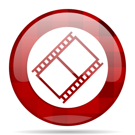 film red round glossy modern design web icon Stock Photo
